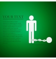 Prisoner with ball on chain flat icon over green vector image