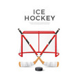 3d ice hockey crossed sticks with puck vector image