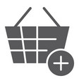 add to bucket glyph icon internet and shop vector image vector image