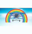 airplane flying in sky with rainbow background vector image vector image