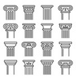 ancient columns icon set line style vector image vector image
