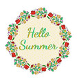 beautiful floral card with hello summer text vector image vector image
