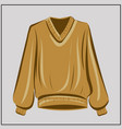 beige sweater cardigan ochre oversize vector image vector image