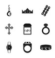 bijouterie icon set simple style vector image vector image