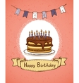 birthday invitation with chocolate cake vector image vector image