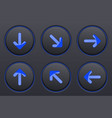 black buttons with blue arrows arrow keys vector image