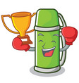 boxing winner thermos character cartoon style vector image vector image