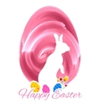 Bunny with colorful egg in easter card vector image vector image