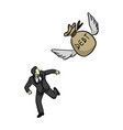 businessman running away from flying bag of debt vector image
