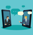 businessmen holdine a video conference via mobile vector image vector image
