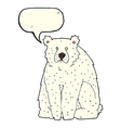 cartoon funny polar bear with speech bubble vector image vector image