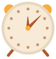 classic alarm clock with brown hands image vector image