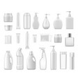 cosmetic containers and chemical plastic bottles vector image