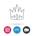 Crown icon Royal king hat sign vector image vector image