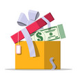 dollar money coins coming out gift box vector image