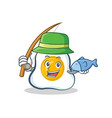 fishing fried egg character cartoon vector image vector image
