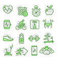 fitness and gym line icons on white vector image vector image
