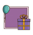 gift box present with balloons air vector image
