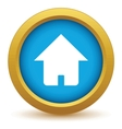 Gold home icon vector image vector image