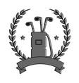 golf bag with clubs emblem vector image vector image
