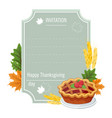hand drawn thanksgiving greeting card with pie vector image vector image