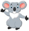 Happy cartoon koala waving hand vector image vector image