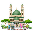 happy muslim family in front the mosque of an open vector image vector image
