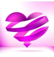Heart made from pink ribbon EPS8 vector image vector image