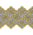 lace seamless pattern with gold flowers vector image vector image