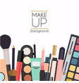 makeup cosmetics and brushes on white vector image vector image