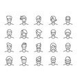 man avatar line icon set vector image