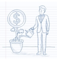 Man watering money flower vector image vector image