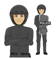 mature serious police man riot officer vector image