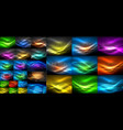 mega collection of shiny glowing shapes on dark vector image