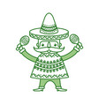 mexican man with maracas and traditional costume vector image