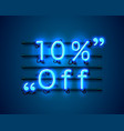 neon frame 10 off text banner night sign board