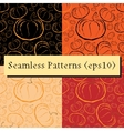 outline pumpkins seamless patterns set vector image vector image