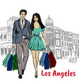 people on rodeo drive vector image vector image