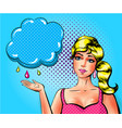 pop art sad woman showing cloud with vector image vector image