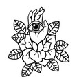 rose and eye tattoo with hand vector image vector image