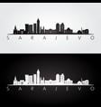 sarajevo skyline and landmarks silhouette vector image vector image