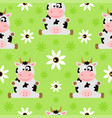 seamless background cartoon with cow vector image vector image