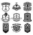 set vintage podcast radio emblems vector image vector image