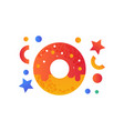 sweet glazed donut fast food dish vector image