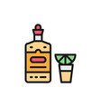 tequila alcohol hot drink with lemon flat color vector image