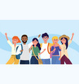 university women and men friends with backpacks vector image vector image