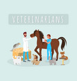 veterinarians work flat male vector image vector image