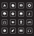 white flat icon set 6 with rounded rectangle frame vector image