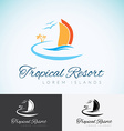 Yacht Palm trees and sun travel company logo vector image vector image