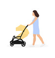 young mother walking with bastroller vector image